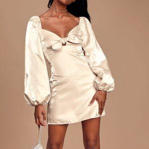NWT! Lulu's Satin Puff Sleeve Mini Dress